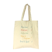 Fashion Culture Beach Checklist Packable Eco Canvas Tote