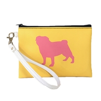 Pug Dog Silhouette Color Block Wristlet Cosmetic Pouch