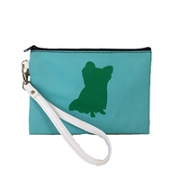 Yorkie Dog Silhouette Color Block Wristlet Cosmetic Pouch