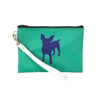 Chihuahua Mini Pin Dog Silhouette Color Block Wristlet Cosmetic Pouch