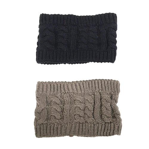 Fashion Culture Cable Knit Headband Earwarmer Set of 2, Taupe/Black
