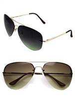 Unisex Gold Semi Rimless Aviator Sunglasses
