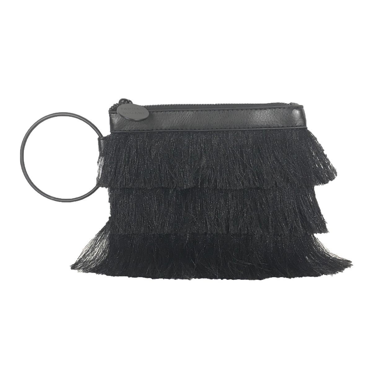 2a5333216c71 Farrah + Sloane Symi Metallic Fringe Wristlet Bracelet Clutch, Black