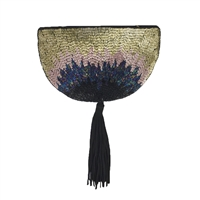 From St Xavier Fiona Beaded Half Moon Clutch with Tassel