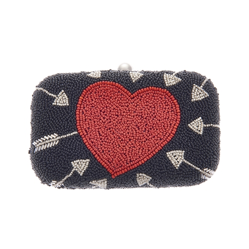 From St Xavier Cupid Heart & Arrow Beaded Box Clutch