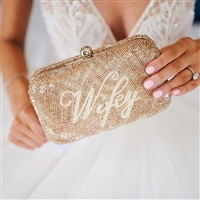 Wifey Beaded Box Clutch Bridal Bag