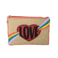 From St Xavier Rainbow Love Beaded Crossbody Clutch