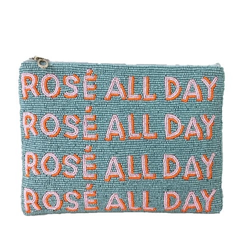 From St Xavier Rose All Day Beaded Crossbody Clutch