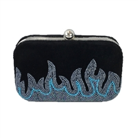 From St Xavier Gasoline Velvet Beaded Box Clutch