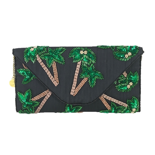 From St Xavier Tropica Palm Tree Beaded Convertible Clutch