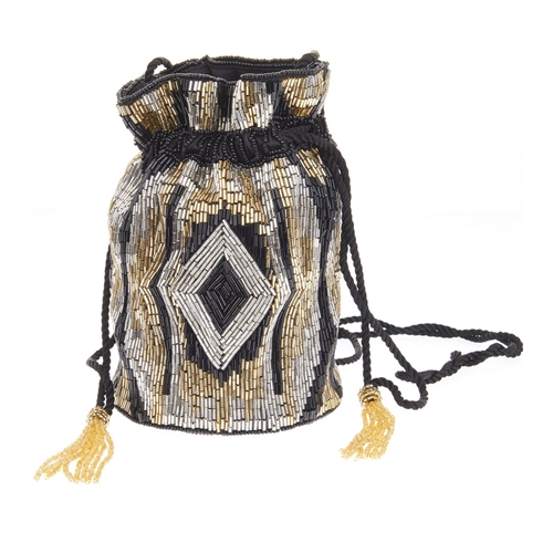 From St Xavier Portia Beaded Drawstring Pouchette Bag