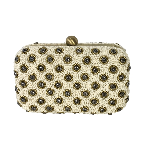From St Xavier Daisy Beaded Box Clutch Evening Bag