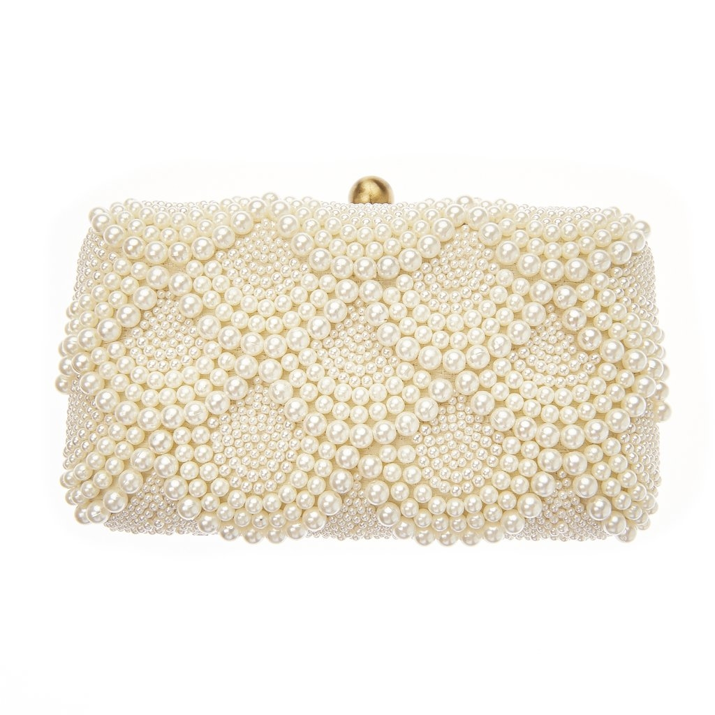 From St Xavier Solange Pearl Beaded Box Clutch Bridal Bag