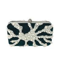 From St Xavier Nador Velvet Pearl Beaded Box Clutch Evening Bag