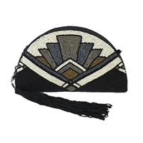 From St Xavier Silas Beaded Half Moon Convertible Clutch
