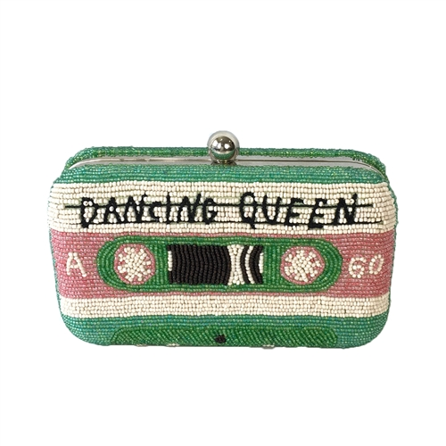 From St Xavier Danicing Queen Mixed Cassette Tape Box Clutch Crossbody