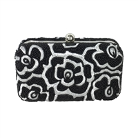 From St Xavier Noir Floral Box Clutch Crossbody Evening Bag