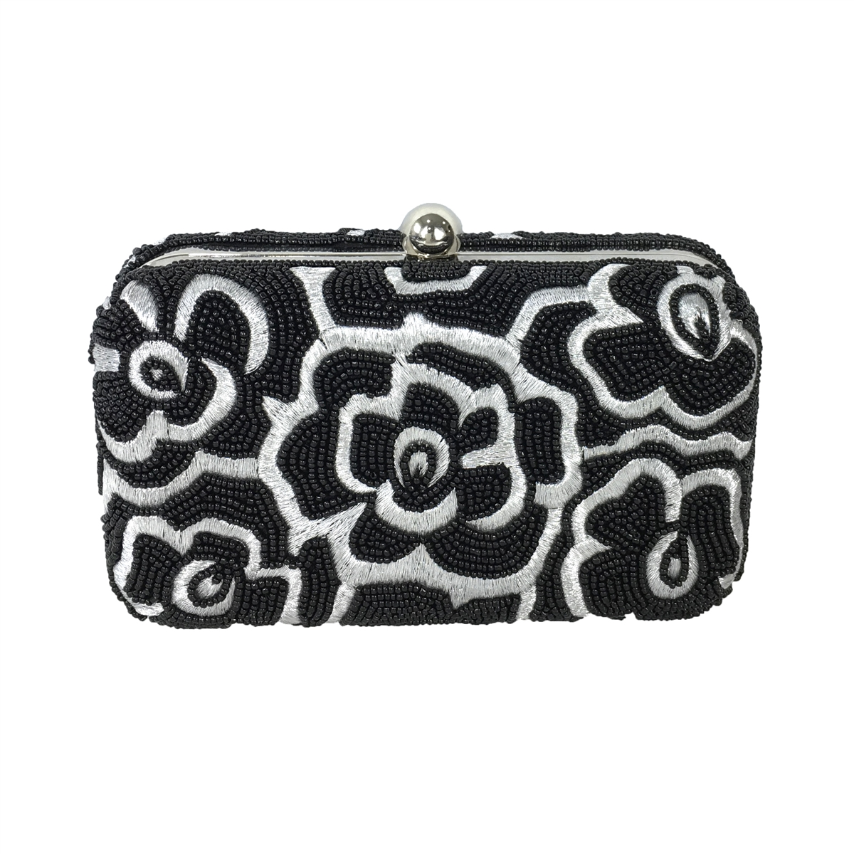 great quality on feet shots of largest selection of From St Xavier Noir Floral Box Clutch Crossbody Evening Bag, Black/Silver