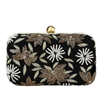 Flower Beaded Velvet Box Clutch Crossbody Bag