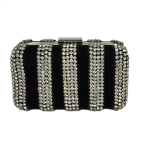 From St Xavier Crystal Box Clutch Velvet Evening Bag