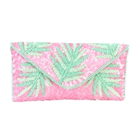 From St Xavier Capri Palm Fronds Beaded Convertible Clutch