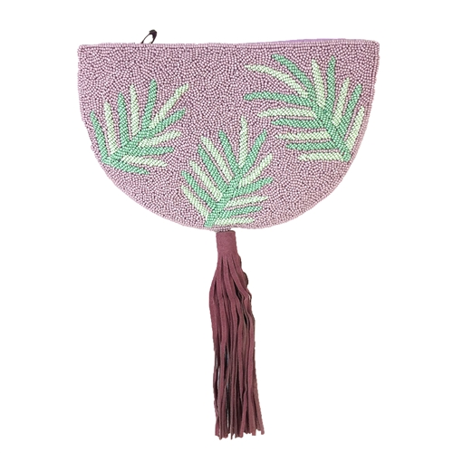From St Xavier Ibiza Palm Fronds Half Moon Clutch