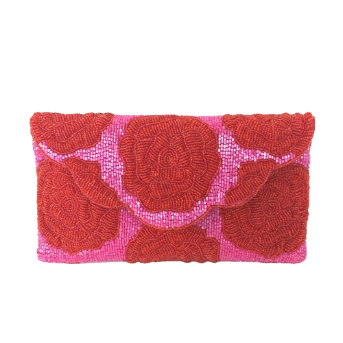 From St Xavier Rosie Rose Beaded Convertible Clutch Crossbody
