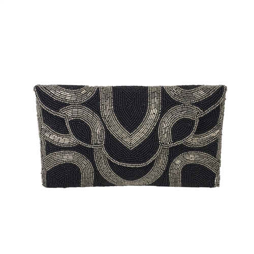 From St Xavier Mercury Beaded Clutch Evening Bag