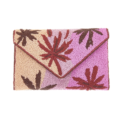 From St Xavier Cali Palm Beaded Clutch Crossbody