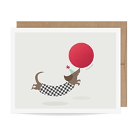 Dachshund Party Pup Custom Message Scratch Off Greeting Card