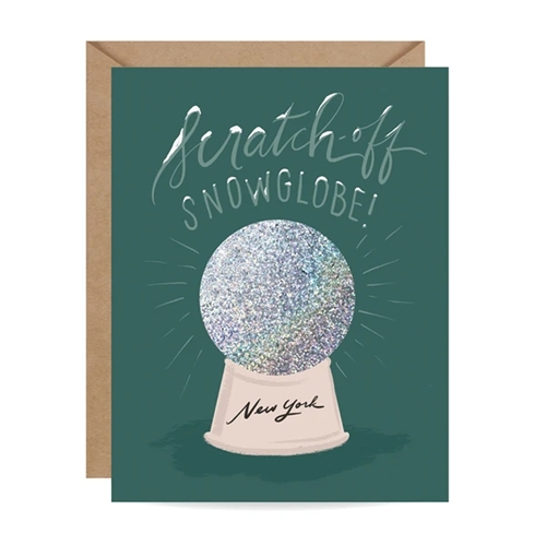 Inklings New York Snow Globe Scratch Off Blank Holiday Greeting Card