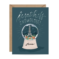 Inklings Paris Snow Globe Scratch Off Blank Holiday Greeting Card