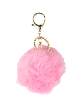 Rabbit Fur Pom Pom Purse Charm / Key FOB