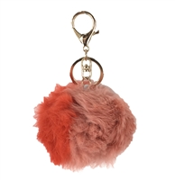 Two-Tone Fur Pom Pom Purse Charm / Key FOB