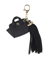 Melie Bianco Vegan Satchel & Oversized Tassel Purse Charm