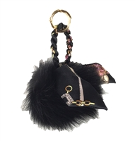 Oversized Real Fur Scarf Pom Pom Purse Charm / FOB