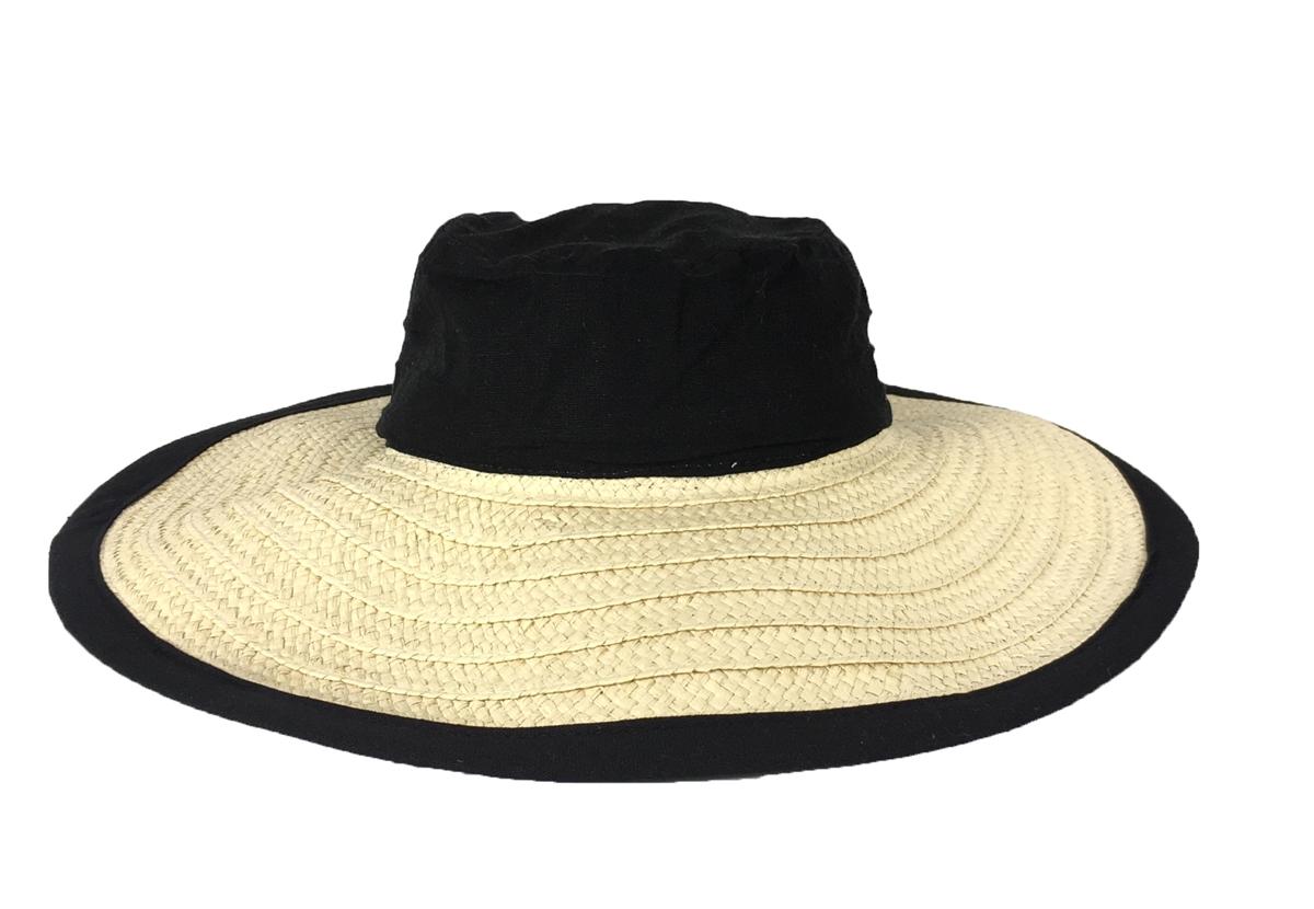 30d8aabd Magid Linen Crown Floppy Paper Straw Sun Hat, Natural/Black