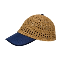 Color Block Open Weave Straw Baseball Cap