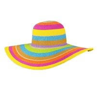 Magid Colorful Stripes Wide Brim Floppy Straw Sun Hat