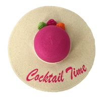 Magid Cocktail Time Floppy Straw Sun Hat
