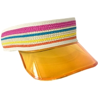 Magid Acrylic Brim Striped Straw Sun Visor