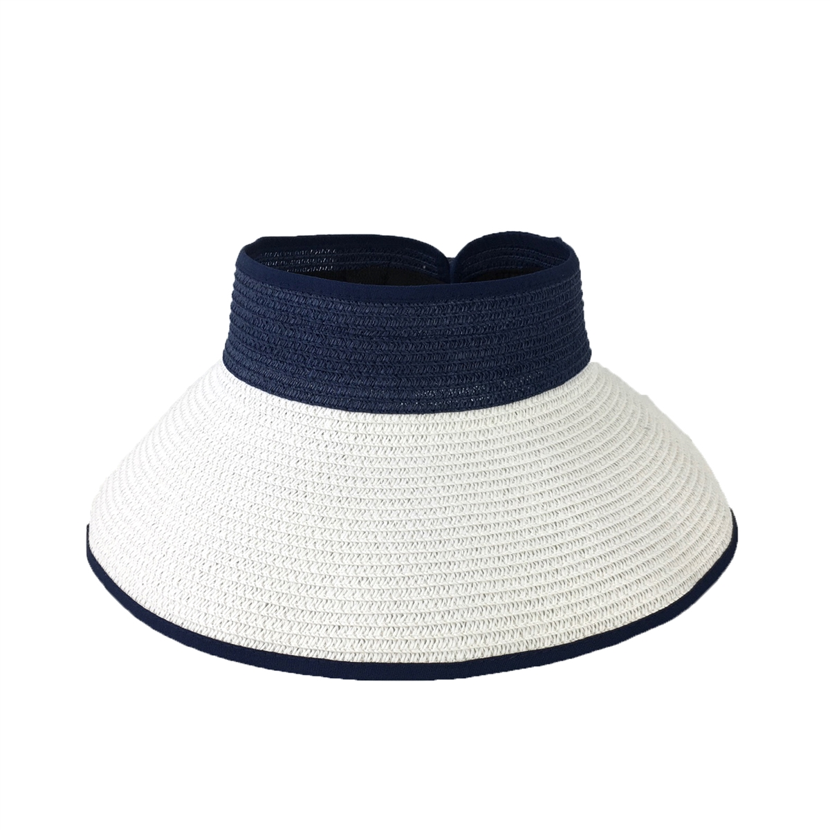 217fc06a Magid Two-Tone Packable Wide Brim Straw Sun Visor, Navy White