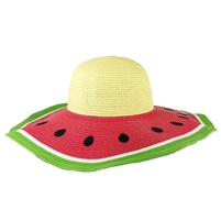 Magid Watermelon Wide Brim Floppy Straw Sun Hat
