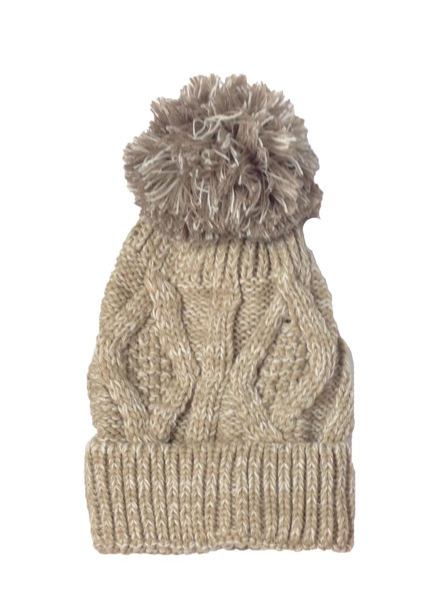 Karma Marled Cable Knit Beanie Pom Pom Hat eb54fd92956