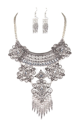 C & C Pave Filigree Statement Necklace & Earrings Set