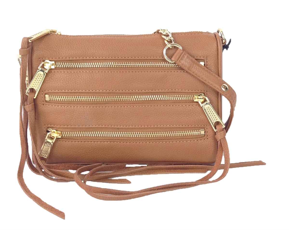 3ec7d895800 Rebecca Minkoff Mini 5 Zip Rocker Leather Crossbody Bag, Soft Tan