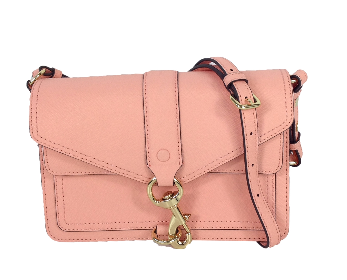 genuine shoes buy sale official Rebecca Minkoff Hudson Moto Saffiano Leather Crossbody Bag, Peach