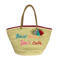 Rebecca Minkoff Beach Hair Don't Care Straw Tote Beach Bag