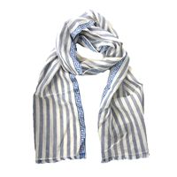 Versace Striped Linen Blend Scarf w Greek Key Trim