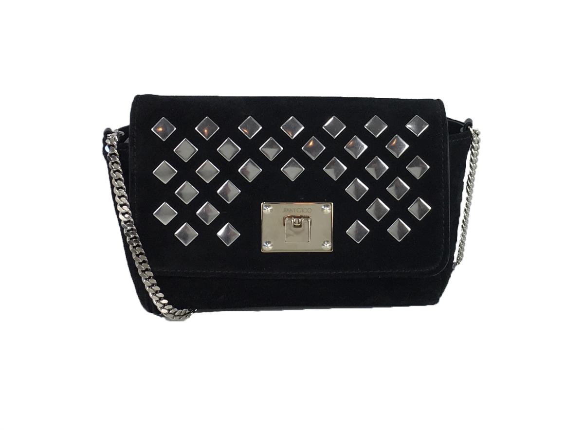 57802ff062f Jimmy Choo Ruby Studded Suede Mini Crossbody Bag, Black